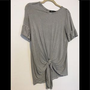 Green white striped tie front top shirt small